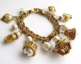 Vintage Chunky Charm Cha Cha Bracelet - 16 Charms - Pearls Baskets Bells - 1950