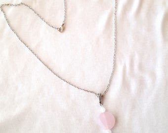 Pale Pink Tassel Necklace Milky Pink Tassel Pendant Necklace