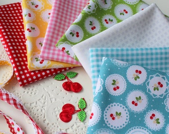 Sew Cherry and gingham fabric fat quarter bundle from Lori Holt and Riley Blake Designs