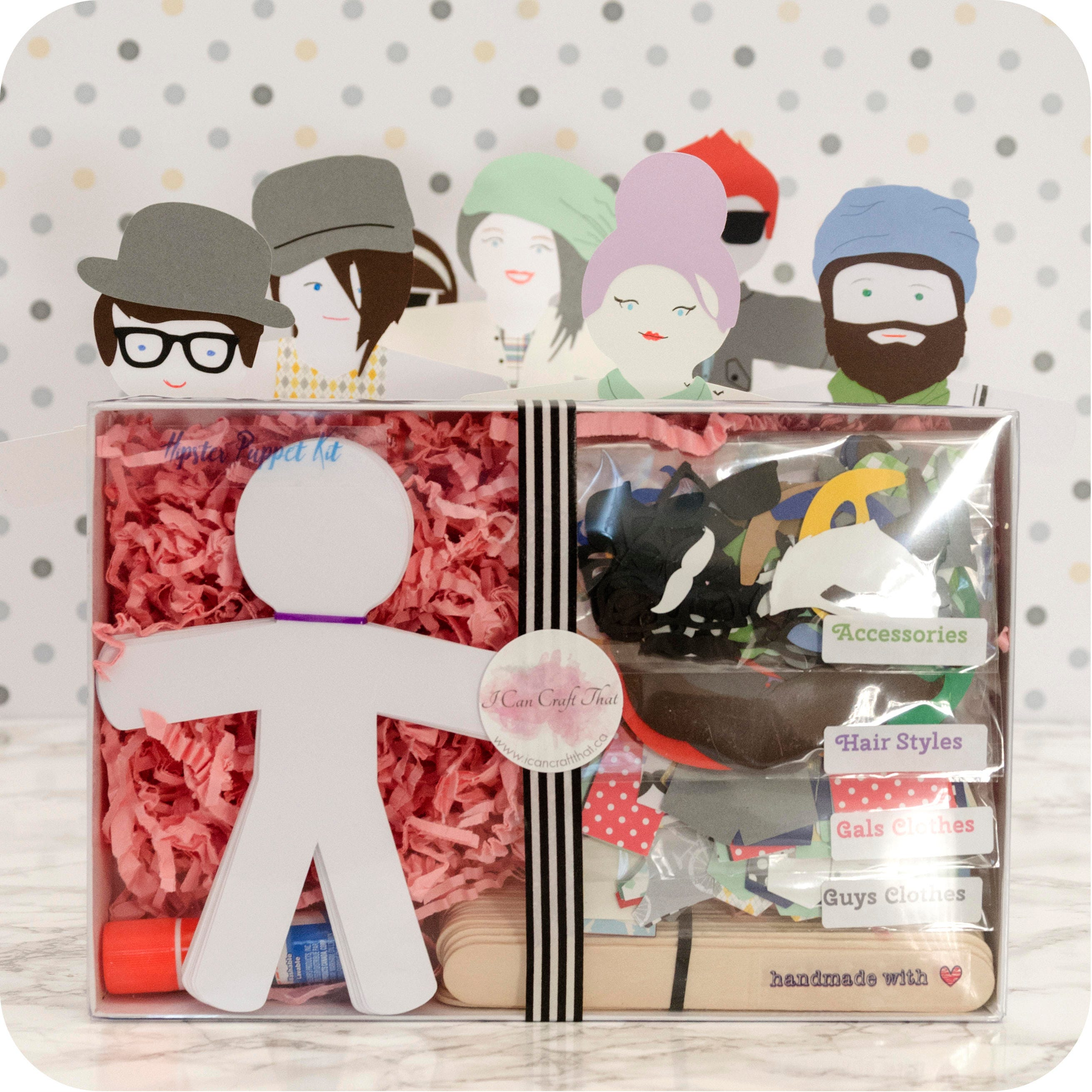 Craft kit puppets for kids and adults the hipsters addition for Craft kit for adults