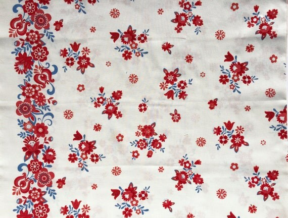 Lecien Folklore Floral Border print white FQ or more