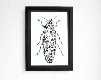 BUG original signed graphic printed with vintage stamps by renna deluxe