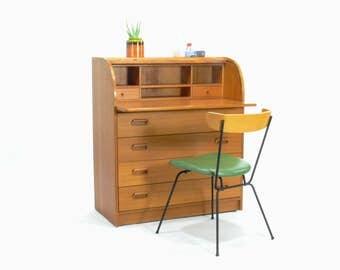 Danish Teak Tambour Door Secretary // Desk, Mid Century Modern