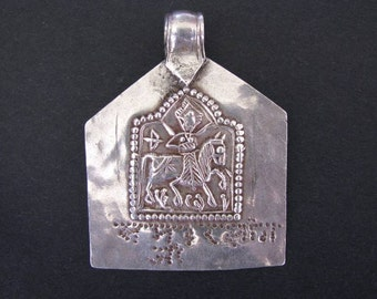 Antique Indian Amulet, Ethnic Tribal, Bhumiya Raj Pendant with Hindi Script, High Grade Silver,  Rajasthan, India, 6.2 Grams