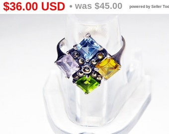Sterling Silver Ring - Maltese Cross - Square Cut - Black Marcasites, Purple Amethyst, Yellow Citrine, Blue Topaz Green Gemstones -  Vintage