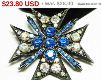 Spring Sale Vintage Maltese Cross Brooch - Blue & Aurora Borealis Rhinestones - 1970's - 1980's Gothic Style Pin