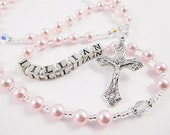 Personalized Swarovski Rosary in Pink and Clear Crystals - Baptism, First Communion, or Confirmation Gift for a Baby Girl