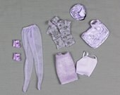 Barbie fashion clothes 1 Lavender / Violet outfit, Knit pencil skirt Tank top Blouse Platform heels Large purse/bag Newspaper boy style hat