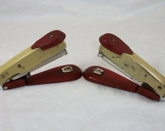 Vintage Set of 2 Wonderful Arrow Fastener Co. Metal Staplers