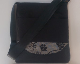 Tote: Leather, Canvas and Black Flowers