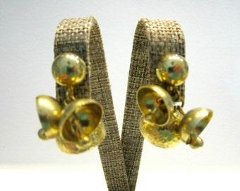 Vintage Gold Bells Clip Earrings Dangling Bell Earrings Gift for Her Gold Vintage Earrings Gift for Mom Under 20