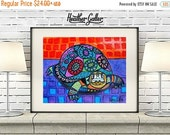 50% Off Today- Turtle Art Tortoise Folk Art Poster Print of painting by Heather Galler (HG877)
