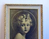 Vintage Portrait Print, Jesus Light of The World, EG Co Bosserman, 1920's Art Nouveau Decor, Gold Sepia, Small Child Painting