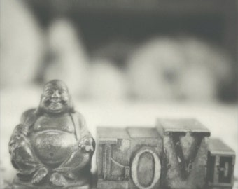Love Buddha,  Print of an original Polaroid image taken with a vintage SX-70 camera and Impossible Project Film