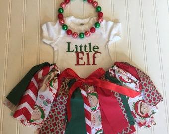 Christmas Baby Outfit - Christmas Girl Outfit - Baby Girl First Christmas Outfit - Baby Girl Outfit - Fabric Tutu - Girl Christmas Tutu
