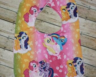 Baby Bib-My Little Pony Bib-Toddler Bib-Minky Baby Bibs-Bibs-Rainbow Bib-Girl baby bib-Baby girl bib