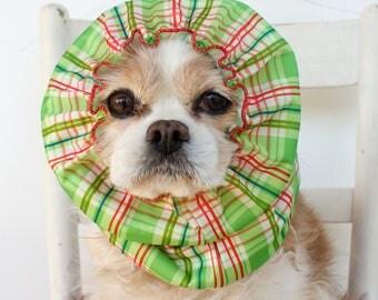 GreenPlaid Waterproof Dog Snood - Stay-Put 3 Rows Elastic Thread - Rain Hat - Cavalier King Charles or Cocker Snood