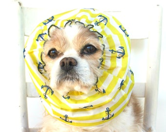 Anchors Waterproof Dog Snood - Stay-Put 3 Rows Elastic Thread - Rain Hat - Cavalier King Charles or Cocker Snood