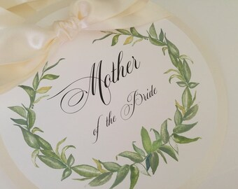 Reserve Seating Mother of the Bride Laurel Wreath Design Wedding Pew Seating Sign