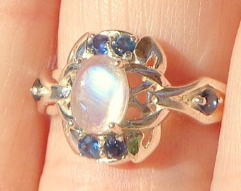 Rainbow Moonstone Ring, 925 Sterling Silver Ring, Blue Sapphire Accents, Edwardian Fantast, Victorian Style, Genuine Gemstone Ring, OOAK