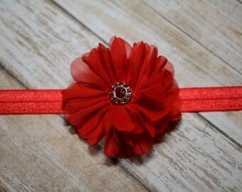 CLEARANCE Headband/ Red Chiffon Flower Headband/ Red Baby Headband/ Baby Hair Accessories/ Girls Hair Accessories/ Sale Headband/ Red