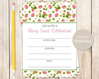 PRINTABLE strawberry invitation . fill in the blank invitations . strawberries birthday party . INSTANT DOWNLOAD