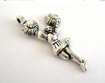 75% Off - 20pcs Silver Cheerleader Charms - Cheer Pendants - Girls Sport Beads 031