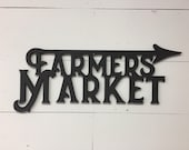 Farmers Market Arrow Word Wood Cut Wall Art Sign Decor