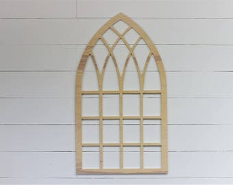 Unfinished Vintage Inspired 35x19.5 Pointed Wooden Arch Window Frame