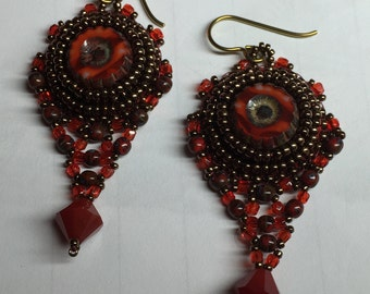 KIT and PATTERN Czech Picasso Earrings black bead embroidery