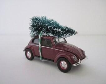 1951 VW Volkswagon BEETLE, Split Window - CHRISTMAS Ornament, Christmas Village Display - Christmas Tree Tied to Top