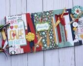 Family premade scrapbook for family memories, chipboard word album, mini scrapbook, vacation photos -FM15