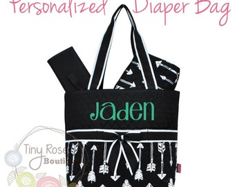 Personalized Diaper Bag, Black Arrow Monogrammed Baby Tote, Changing Pad, Mommy Bag