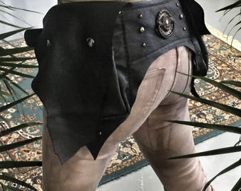 Black Leather Unisex Festival Belt / Black Leather Utility Belt