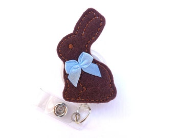 Easter Retractable badge holder - Mmmm Chocolate Bunny - brown felt rabbit with blue bow - Nurse badge reel medical badge reel - spring