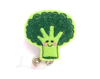 Badge Reel ID Holder Retractable - Eat Your Broccoli - green felt vegetable - nurse badge reel dietitian nutritionist vegan vegetarian
