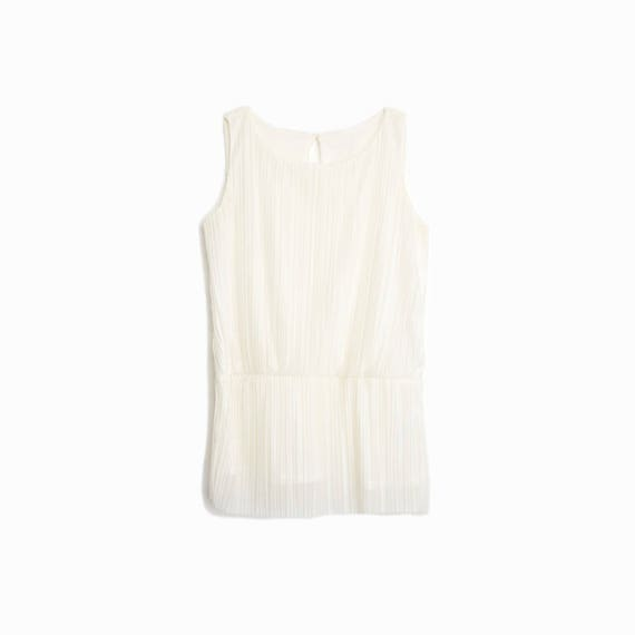 Vintage Ivory Accordion Pleated Top / Peplum Top - women's small