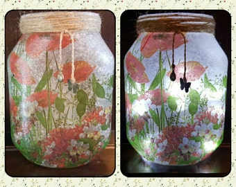 Upcycled Jar with Poppies, Decoupage, Fairy lights, lamp, recycled, rustic, flowers, poppy