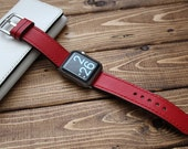 Hand Stitched Apple Watch Strap in Soft RED Italian Leather