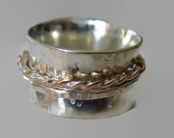 Spinner Ring in Sterling Silver Wide Band Made to Order Any Size