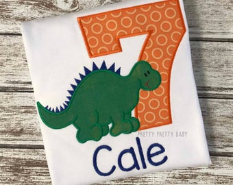 pretty cute dinosaur birthday shirt, dinosaur party shirt, Dino appliqué shirt, friendly dinosaur