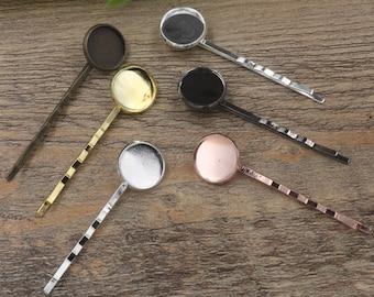 50 Brass Antique Bronze/ Silver/ Gold/ Rose Gold/ White Gold/ Gun-Metal Plated Bobby Pin W/ 10mm/ 12mm/ 14mm Round Bezel Setting- Z5701