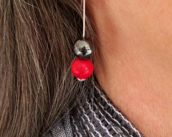 Silver Wire Hoop Earrings - with red and black ceramic beads