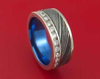 14K White Gold and Diamond Eternity Ring with Kuro Damascus Steel and Anodized Titanium Sleeve Custom Made Band