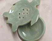 Soap Dish Ceramic Soap Dish Decor  turttle Handmade Pottery, ceramic pottery ,Green Turtle Spoon  Rest  Handmade Ceramic Stoneware Pottery