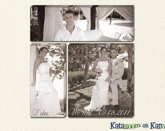 Distinctive Three Canvas Grouping of Your Wedding With Dates and YOUR Photos