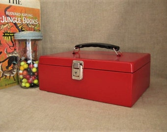 Upcycled Metal Cash Box in Bright Red / Bright Fun Treasure Chest-Box for Storage and Organization / Candy Apple Red Metal Box