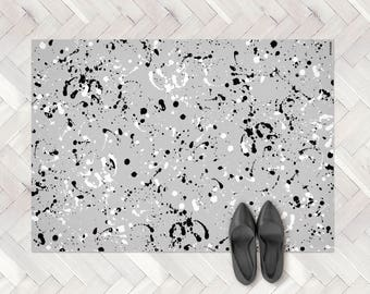 Modern Paint Splash Rug, Paint Spill PVC Rug, Paint Splatter Rug, Grey Paint Splash, Monochrome Rug, trendy home, area rug, kitchen decor