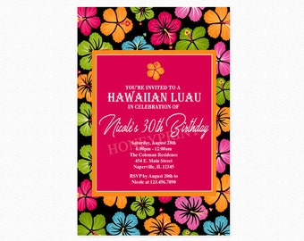 Luau Birthday Party Invitation, Luau Floral Birthday Party Invitation, Tropical Hawaiian Invitation, Personalized, Printable or Printed