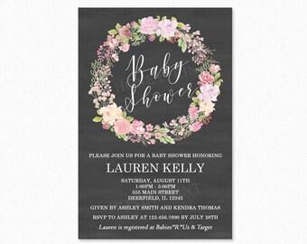 Flower Wreath Baby Shower Invitation, Boho Flower Baby Shower Invitation, Chalkboard, Flowers, Personalized, Printable or Printed